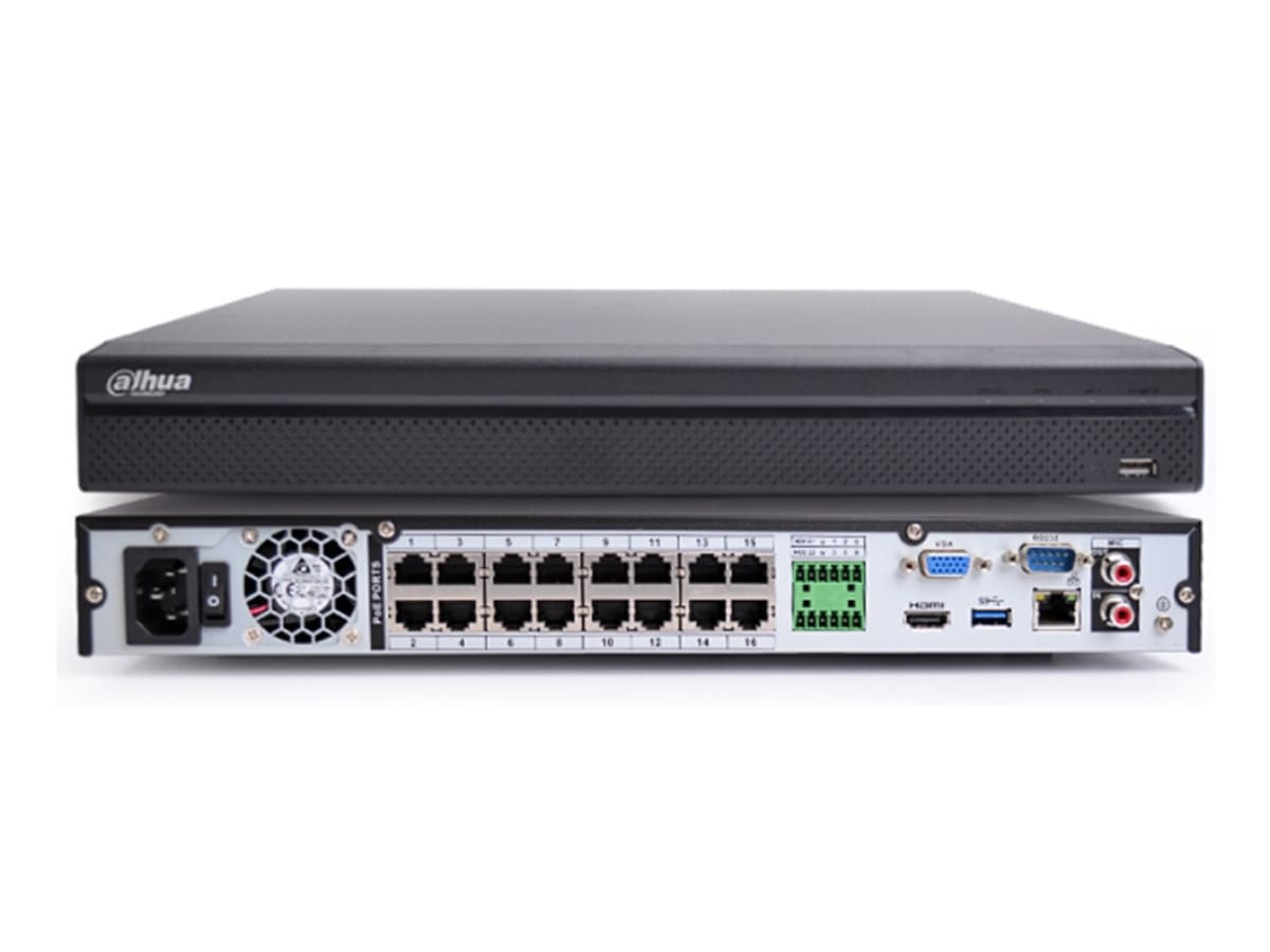 NVR4216-16P-4KS2 16-канальный IP видеорегистратор 4K c PoE коммутатором на 16 портов